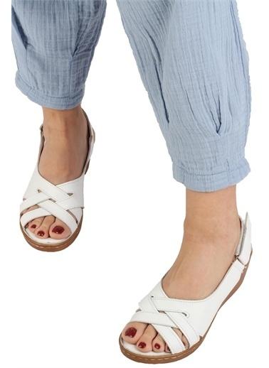 Modabuymus Modabuymus  Hakiki Deri Cırtlı Anatomik Dolgu Sandalet - Saliya Beyaz
